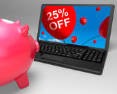 Twenty-Five Percent Off Laptop Means Prices Reduced 25 — Stock Photo