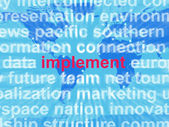 Implement Word Cloud Shows Implementing Or Executing A Plan — Stock Photo