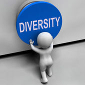 Diversity Button Means Variety Difference Or Multi-Cultural — Stock Photo