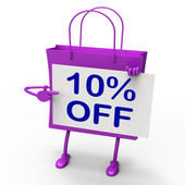 Ten Percent Reduced On Shopping Bags Shows 10 Promotions — Stock Photo