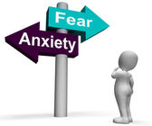Fear Anxiety Signpost Shows Fears And Panic — Stock Photo