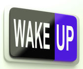 Wake Up Button Awake and Rise — Stock Photo