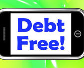 Debt Free On Phone Means Free From Financial Burden — Stock Photo