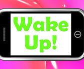 Wake Up On Phone Means Awake And Rise — Stock Photo