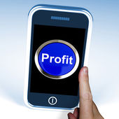 Profit On Phone Shows Profitable Incomes And Earnings — Stock Photo