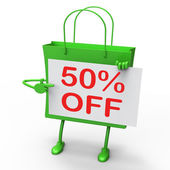 Fifty Percent Reduced On Shopping Bags Shows 50 Bargains — Stock Photo