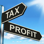 Tax Profit Signpost Means Taxation Of Earnings — Stock Photo