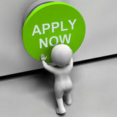Apply Now Button Shows Job Opening And Application — Stock Photo