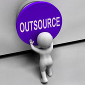 Outsource Button Means Freelancer Or Independent Worker — Stock Photo