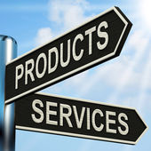 Products Services Signpost Shows Business Merchandise And Servic — Stock Photo