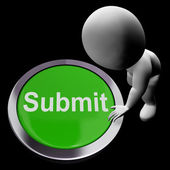 Submit Button Shows Submission Or Handing In — Stock Photo