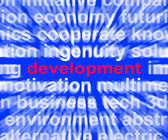 Development Word Means Evolution Growth And Improvement — Stock Photo