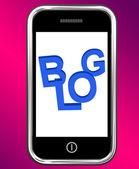 Blog On Phone Shows Blogging Or Weblog Websites — Stock Photo