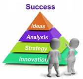 Success Pyramid Shows Accomplishment Progress Or Successful — Stock Photo