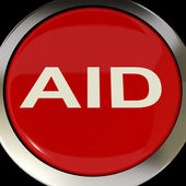 Aid Button Means Help Assist Or Rescue — Stock Photo