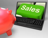 Sales Key Shows Web Selling And Financial Forecast — Stock Photo