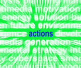 Actions Word Shows Behaviour Manner And Conduct — Stock Photo