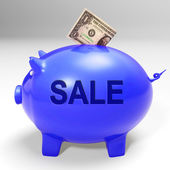 Sale Piggy Bank Shows Price Cut And Discounted Products — Stock Photo
