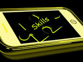 Skills Smartphone Means Knowledge Abilities And Competency — Zdjęcie stockowe