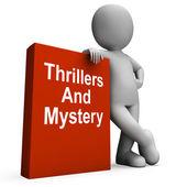 Thrillers et livre mystère avec des caractères montre genre fiction bo — Photo