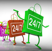 Twenty-four Seven Bags Show Shopping Availability and Open Hours — Stock Photo