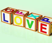 Love Blocks Show Romance Affection And Devotion — Foto Stock