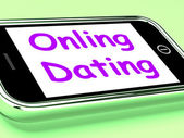 Online Dating On Phone Shows Romancing And Web Love — Stock Photo
