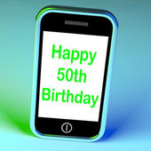Feliz 50 cumpleaños smartphone significa convertir 50 — Foto de Stock