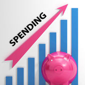 Spending Graph Means Costs Expenses And Outlay — Stock Photo