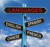 Languages Signpost Means English Chinese Spanish And French — Photo