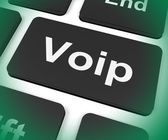 Voip Key Means Voice Over Internet Protocol Or Broadband Telepho — Stock Photo