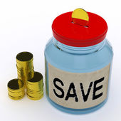 Save Jar Means Saving And Reserving Money — Stock Photo