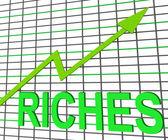 Riches Chart Graph Shows Increase Cash Wealth Revenue — Stock Photo