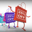 Twenty-five Percent Off Bags Show 25 Sales — Stock Photo