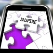 Inspire Smartphone Shows Originality Innovation And Creativity O — Stock Photo #41147863