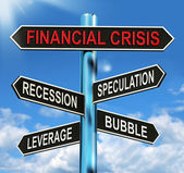 Financial Crisis Signpost Shows Recession Speculation Leverage A — Stock Photo
