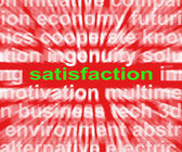 Satisfaction Word Shows Enjoyment Contentment And Fulfilment — Stock Photo