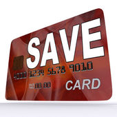 Save Bank Card Means Setting Aside Money In Savings Account — Stock Photo
