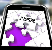 Inspire Smartphone Shows Originality Innovation And Creativity O — Stock Photo
