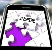 Inspire Smartphone Shows Originality Innovation And Creativity O — Stock Photo