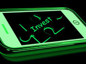 Invest Smartphone Means Investment In Company Or Savings — Stock Photo