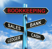 Bookkeeping Sign Means Sales Ledger Bank And Cash — Stock Photo