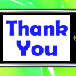 Foto de Stock  : Thank You On Phone Shows Gratitude Texts And Appreciation