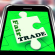 Fair Trade Smartphone Shows Purchasing Ethical Fairtrade Goods — Stock Photo #41153323