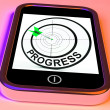 Foto Stock: Progress Smartphone Shows Advancement Improvement And Goals