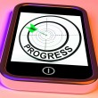 Progress Smartphone Shows Advancement Improvement And Goals — Stok Fotoğraf #41154053
