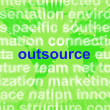 Foto Stock: Outsource Word Cloud Shows Subcontract And Freelance
