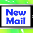Stock Photo: New Mail On Phone Shows Mail Alert And Inbox