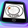 Stock Photo: Action Smartphone Shows Acting To Reach Goals