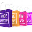 Stock Photo: Free Delivery Shopping Bags Showing No Charge Or Gratis To Deliv